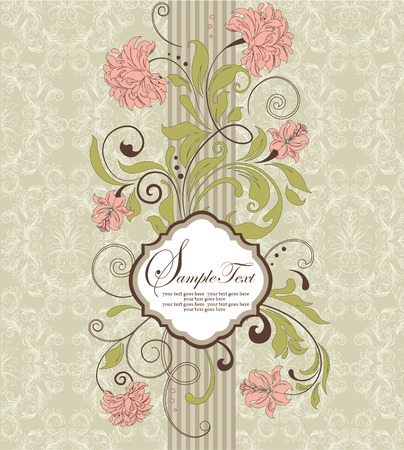 pale green: Vintage invitation card with ornate elegant retro abstract floral design, peach and olive green flowers and leaves on pale green and white background with striped ribbon. Vector illustration. Illustration