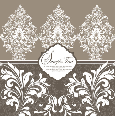 brownish: Vintage invitation card with ornate elegant retro abstract floral design, white flowers and leaves on brownish gray background. Vector illustration.