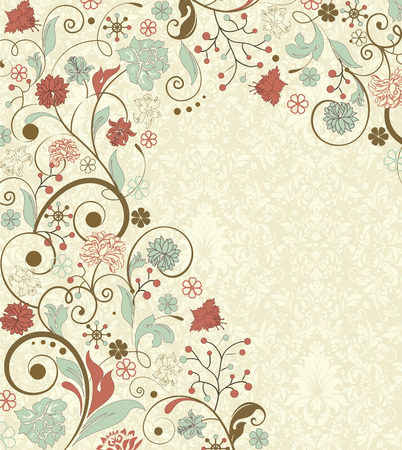 pale yellow: Vintage background with ornate elegant retro abstract floral design, multi-colored flowers and leaves on pale yellow. Vector illustration.