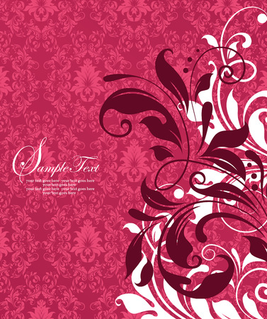 Vintage invitation card with ornate elegant retro abstract floral design, white and dark red flowers and leaves on red and dark pink background. Vector illustration. Illustration