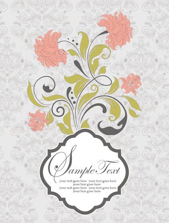 Vintage invitation card with ornate elegant retro abstract floral design, salmon pink and yellow green flowers and leaves on gray background. Vector illustration.