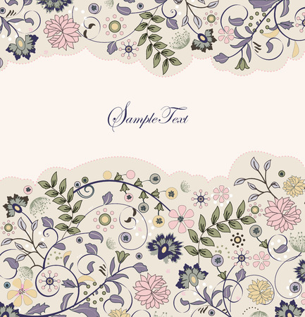 Vintage invitation card with ornate elegant retro abstract floral design, multi-colored flowers and leaves on pale yellow background. Vector illustration.