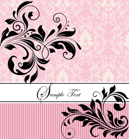pink stripes: Vintage invitation card with ornate elegant retro abstract floral design, black flowers and leaves on pink and white background with stripes and ribbon text label. Vector illustration. Illustration