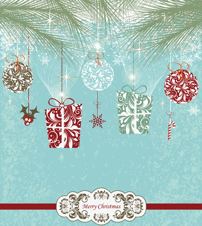 Vintage Christmas card with ornate elegant retro abstract floral design, stars snowflakes balls ponsettia and gifts with multi-colored flowers and leaves under pine needles on aquamarine blue background with ribbon text label. Vector illustration.