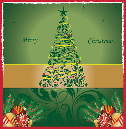 pine needles: Vintage Christmas card with ornate elegant retro abstract floral design, dark green flowers and leaves with tree balls pine needles and stars on green background with ribbon text label and red frame border. Vector illustration. Illustration