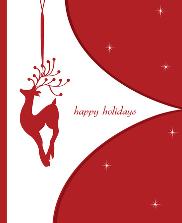 Vintage Christmas card with ornate elegant retro abstract design, red reindeer on white and red background with stars and text label. Vector illustration.