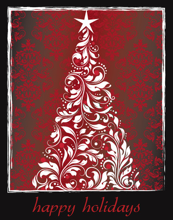Vintage Christmas card with ornate elegant retro abstract floral design, tree with white flowers and leaves on dark red background with white frame border on black background with text label. Vector illustration. Illustration