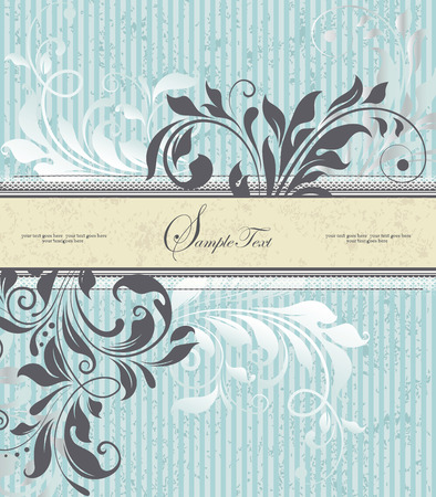 stripe: Vintage invitation card with ornate elegant retro abstract floral design, gray and white flowers and leaves on striped light blue background with pale yellow ribbon text label. Vector illustration. Illustration