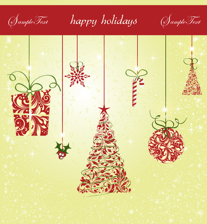 Vintage Christmas card with ornate elegant retro abstract floral design, gift snowflake ponsettia candy cane ball and trees with gold yellow and red flowers and leaves on light yellow background with ribbon text label. Vector illustration.