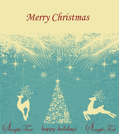 pine needles: Vintage Christmas card with ornate elegant retro abstract floral design, reindeers and tree with pale yellow flowers and leaves under stars snowflakes and pine needles on aquamarine blue textured background with text label. Vector illustration. Illustration