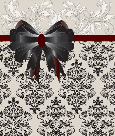 Vintage invitation card with ornate elegant retro abstract floral design, white and black flowers and leaves on gray background with black and brown ribbon. Vector illustration.