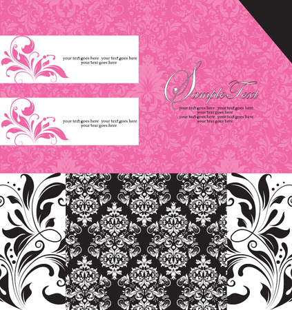 Vintage invitation card with ornate elegant retro abstract floral design, candy pink and black and white flowers and leaves with text label. Vector illustration.
