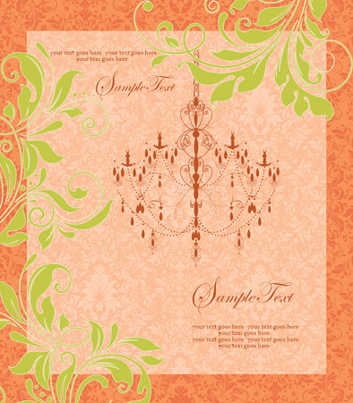 yellow vector: Vintage invitation card with ornate elegant retro abstract floral design, yellow green flowers and leaves on orange and light orange background with chandelier and text label. Vector illustration. Illustration