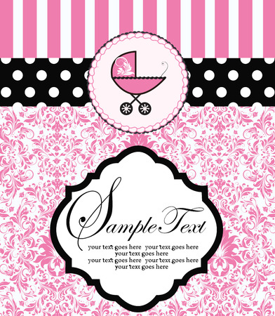 plaque: Vintage baby shower invitation card with ornate elegant retro abstract floral design, pink flowers and leaves on white background with baby carriage on cake on polka dotted striped ribbon and plaque text label. Vector illustration.