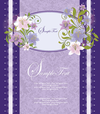 special event: Vintage invitation card with ornate elegant retro abstract floral design, pink violet and purple flowers and green leaves on blue violet background with border and text label. Vector illustration.