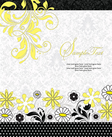 yellow card: Vintage invitation card with ornate elegant retro abstract floral design, white and yellow flowers and leaves on faded green and white background with black borders and text label. Vector illustration.