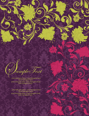 radical: Vintage invitation card with ornate elegant retro abstract floral design, yellow green and radical red flowers and leaves on dark purple background. Vector illustration.