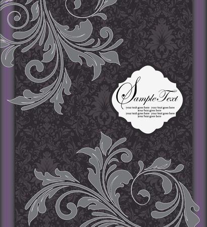 Vintage invitation card with ornate elegant retro abstract floral design, gray flowers and leaves on gray and black background with violet border. Vector illustration. Ilustração
