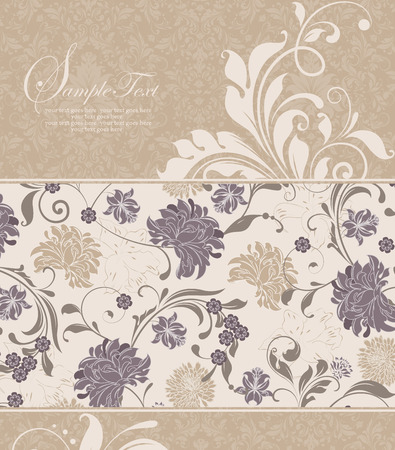 Vintage invitation card with ornate elegant retro abstract floral design, gray and khaki brown flowers and leaves on flesh background and flesh flowers and leaves on khaki brown background. Vector illustration.