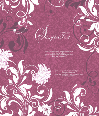 Vintage invitation card with ornate elegant retro abstract floral design, white flowers and leaves on dark pink background. Vector illustration. Ilustração