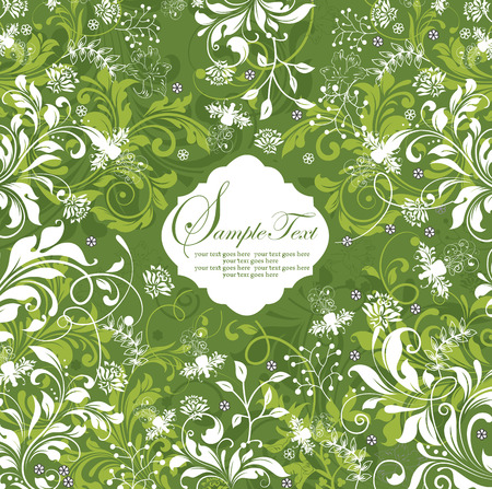 Vintage invitation card with ornate elegant retro abstract floral design, white and yellow green flowers and leaves on green background. Vector illustration.