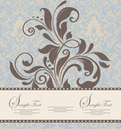 brownish: Vintage invitation card with ornate elegant retro abstract floral design, brownish gray and pale yellow flowers and leaves on pale blue background with ribbon label. Vector illustration.