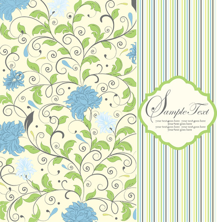 pale yellow: Vintage invitation card with ornate elegant retro abstract floral design, light blue and green flowers and leaves on pale yellow background with stripes. Vector illustration. Illustration