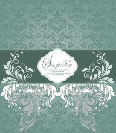 teal background: Vintage invitation card with ornate elegant retro abstract floral design, white and teal green flowers and leaves on light teal background with ribbon label. Vector illustration.