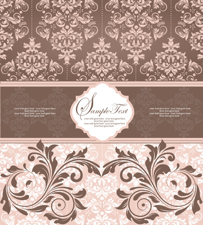 flesh: Vintage invitation card with ornate elegant retro abstract floral design, khaki and light brown flowers and leaves on flesh background with ribbon label. Vector illustration.