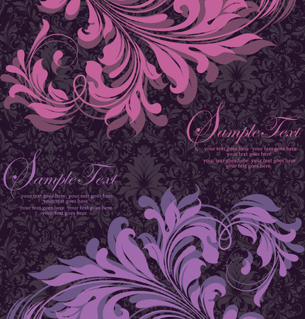 fuschia: Vintage invitation card with ornate elegant retro abstract floral design, fuschia pink and violet flowers and leaves on dark purple background. Vector illustration.