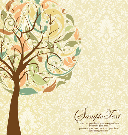 tree: Vintage invitation card with ornate elegant retro abstract floral tree design, brown tree with multi-colored leaves on pale yellow and white background. Vector illustration.