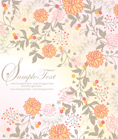 Vintage invitation card with ornate elegant retro abstract floral design, yellow orange candy pink and gray flowers and leaves on pale yellow background. Vector illustration.