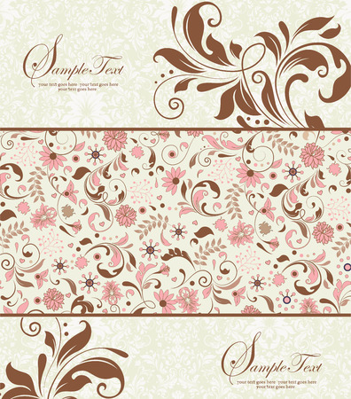 Vintage invitation card with ornate elegant retro abstract floral design, pink and chocolate brown flowers and leaves on faded green and white background. Vector illustration. 矢量图像