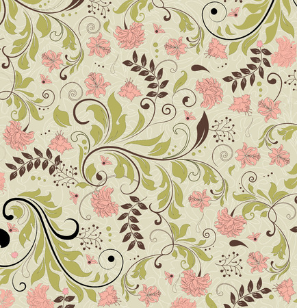 Vintage background with ornate elegant retro abstract floral design, multi-colored flowers and leaves on pale green background. Vector illustration.
