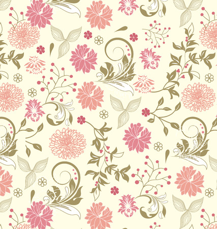 Vintage background with ornate elegant retro abstract floral design, multi-colored flowers and leaves on pale yellow background. Vector illustration.