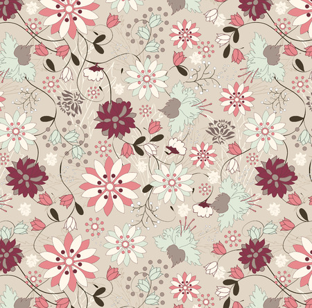 Vintage background with ornate elegant retro abstract floral design, multi-colored flowers and leaves on pale yellow green background. Vector illustration.