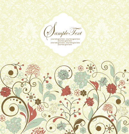 thank you cards: Vintage invitation card with ornate elegant retro abstract floral design, multi-colored flowers and leaves on pale yellow and white background. Vector illustration.