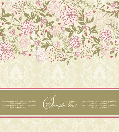 화려한 우아한 복고풍 추상 꽃 무늬 디자인, 산호 핑크와 올리브 그린 빈티지 꽃 초대 카드 및 리본 레이블로 옅은 노란색 녹색 배경에 나뭇잎. 벡터 일
