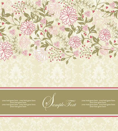 wedding decoration: Vintage invitation card with ornate elegant retro abstract floral design, coral pink and olive green flowers and leaves on pale yellow green background with ribbon label. Vector illustration.