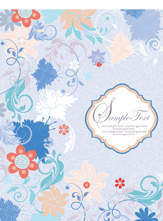 blue plaque: Vintage invitation card with ornate elegant retro abstract floral design, multi-colored flowers and leaves on sky blue background with plaque label. Vector illustration. Illustration