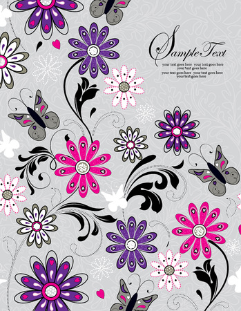 Vintage invitation card with ornate elegant retro abstract floral design, multi-colored flowers and leaves on pale green background with butterflies and text label. Vector illustration.