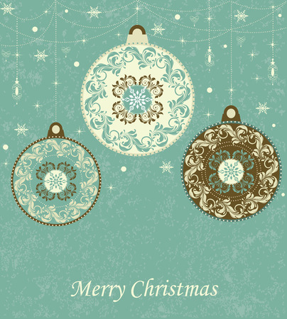 Vintage Christmas card with ornate elegant retro abstract floral design, snowflake snow stars lanterns and balls with pale yellow laurel green and chocolate brown circular flowers and leaves on laurel green background with text label. Vector illustration.