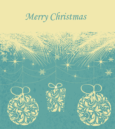 pine needles: Vintage Christmas card with ornate elegant retro abstract floral design, balls and gift with light yellow flowers and leaves under pine needles on aquamarine background with stars snowflakes and text label. Vector illustration. Illustration
