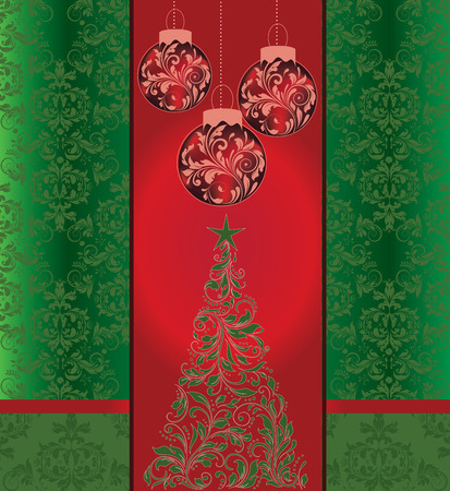Vintage Christmas card with ornate elegant retro abstract floral design, shiny red and green flowers and leaves with balls and tree on red and green background with ribbon. Vector illustration. Vector