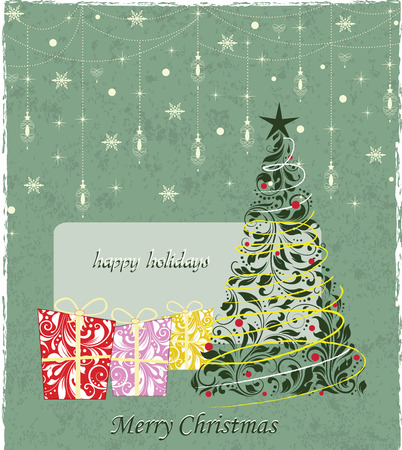 Vintage Christmas card with ornate elegant retro abstract floral design, multi-colored flowers and leaves with gifts tree stars snowflakes and lanterns on laurel green background with text label. Vector illustration. Illustration
