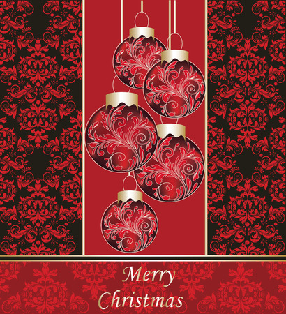 Vintage Christmas card with ornate elegant retro abstract floral design, red flowers and leaves on black background with balls and text label. Vector illustration. Illustration