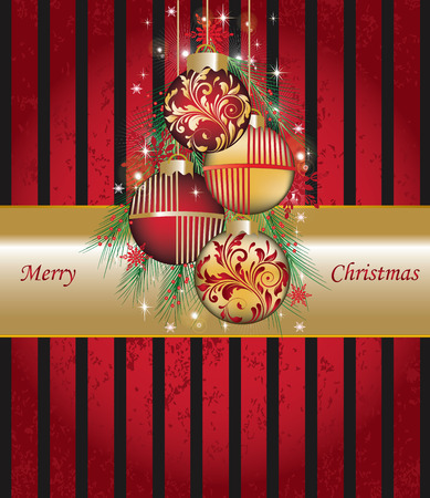 Vintage Christmas card with ornate elegant retro abstract floral design, balls with pine needles snowflakes and stars on striped red and black background with gold ribbon text label. Vector illustration.