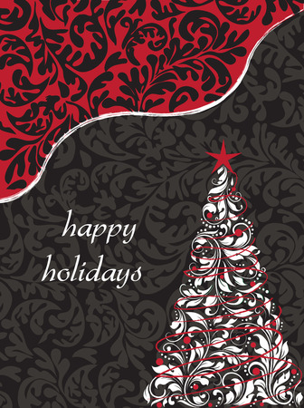 Vintage Christmas card with ornate elegant retro abstract floral design, tree with white leaves on gray on black and black on red background with text label. Vector illustration.