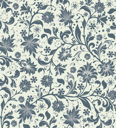 Vintage background with ornate elegant retro abstract floral design, blue gray flowers and leaves on pale green background. Vector illustration.