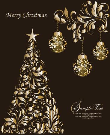 Uitstekende Kerstkaart met sierlijke elegante retro abstract floral design, ballen en boom met glanzende gouden bloemen en bladeren op donkere chocolade bruine achtergrond met tekst label. Vector illustratie.
